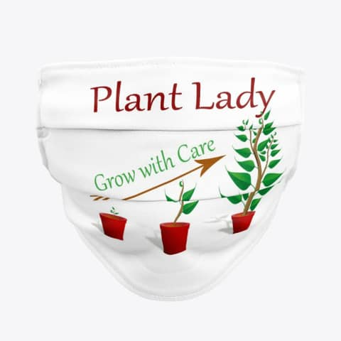 plant lady mask grow with care white black color leaves